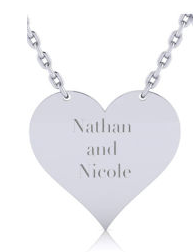 Sterling Silver Heart Necklace With Free Custom Engraving, 18 Inches