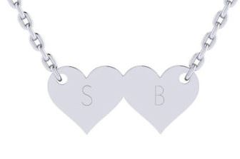 Sterling Silver Double Heart Necklace With Free Custom Engraving, 18 Inches