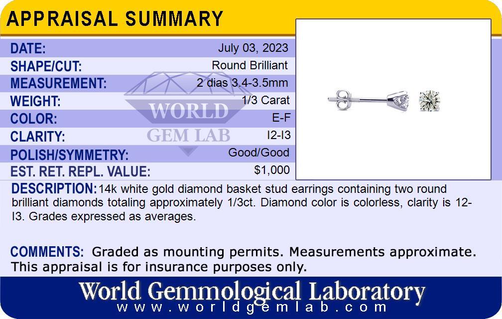 1/3 Carat Colorless Diamond Stud Earrings In 14 Karat White Gold