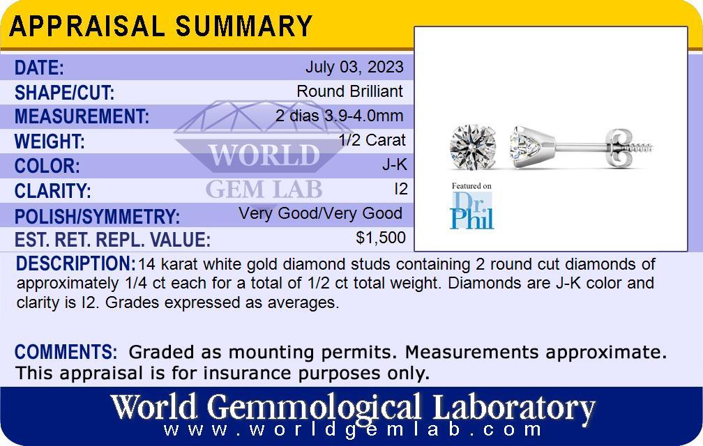 1/2ct Diamond Stud Earrings in 14k White Gold | SuperJeweler com