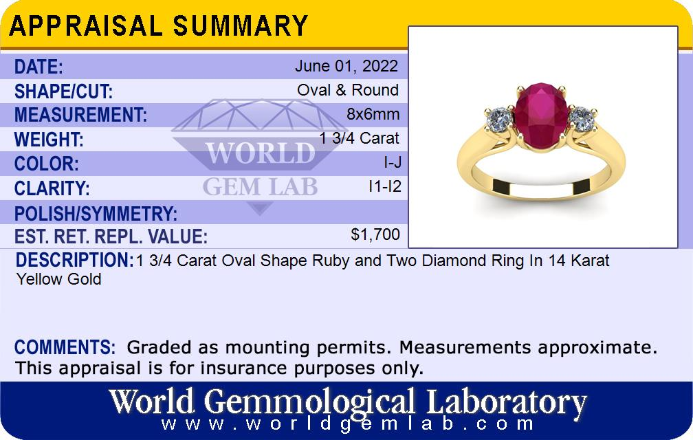 Ruby Ring | July Birthstone | 1 3/4ct Oval Ruby and Two