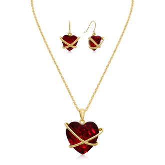 Crystal Ruby Heart Necklace with Earrings