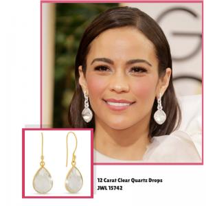 12 Carat Clear Quartz Drops #paulapatton #goldenglobes #superjeweler