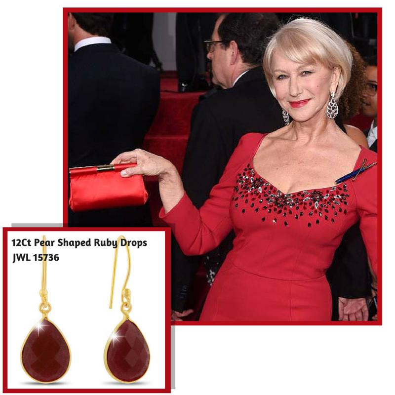 12Ct Pear Shaped Ruby Drops #helenmirren #goldenglobes #superjeweler