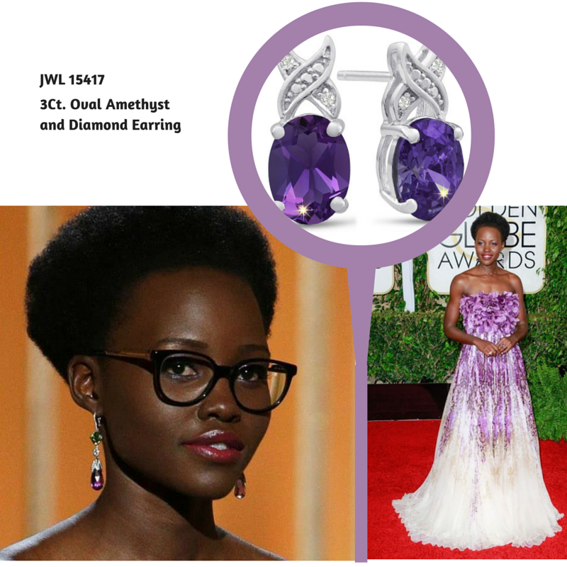 3 Ct Oval Amethyst and Diamond Earrings #lupitanyong'o #goldenglobes #superjeweler (2)