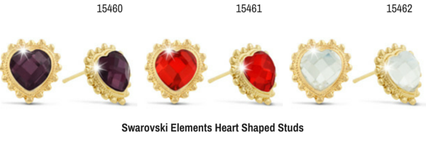 Swarovski Elements Heart Shaped Studs