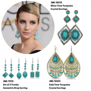 #emmaroberts #goldenglobes #superjeweler #turquoise