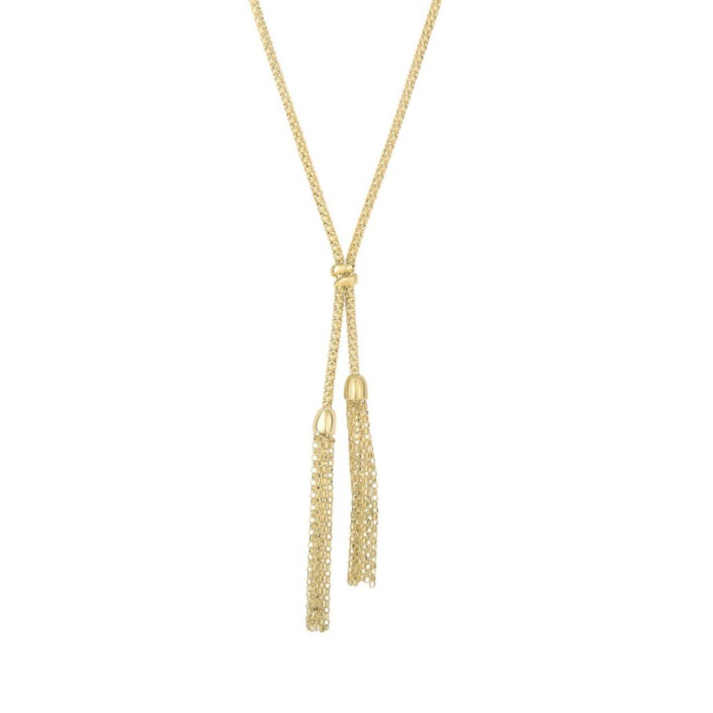 14K Yellow Gold Tassel Lariat Necklace, 17 Inches