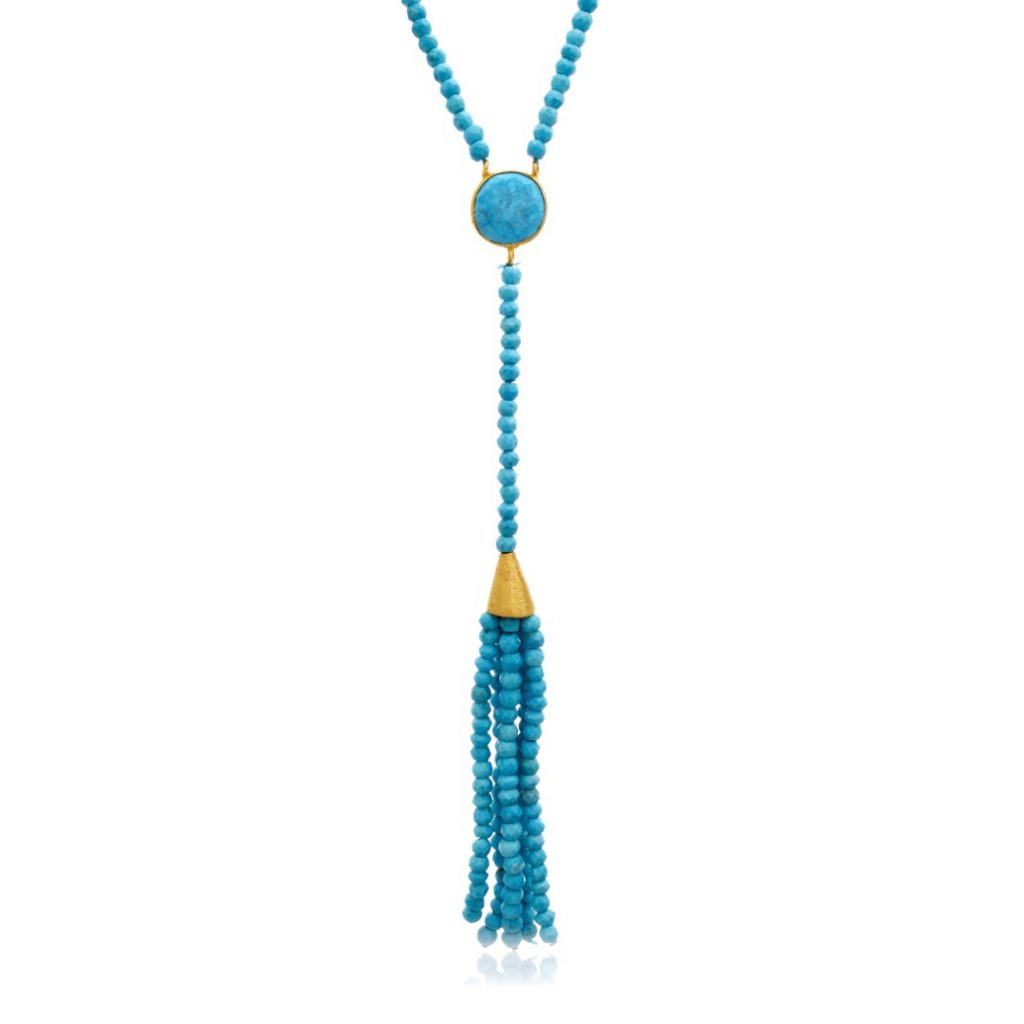 SuperJeweler's 142 Carat Turquoise Tassel Necklace in 14K Yellow Gold, 36 Inches