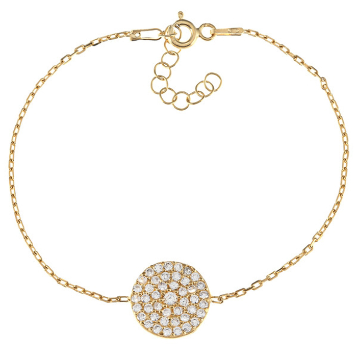 Round Gold-Plated Sterling Silver Cubic Zirconia Disc Bracelet
