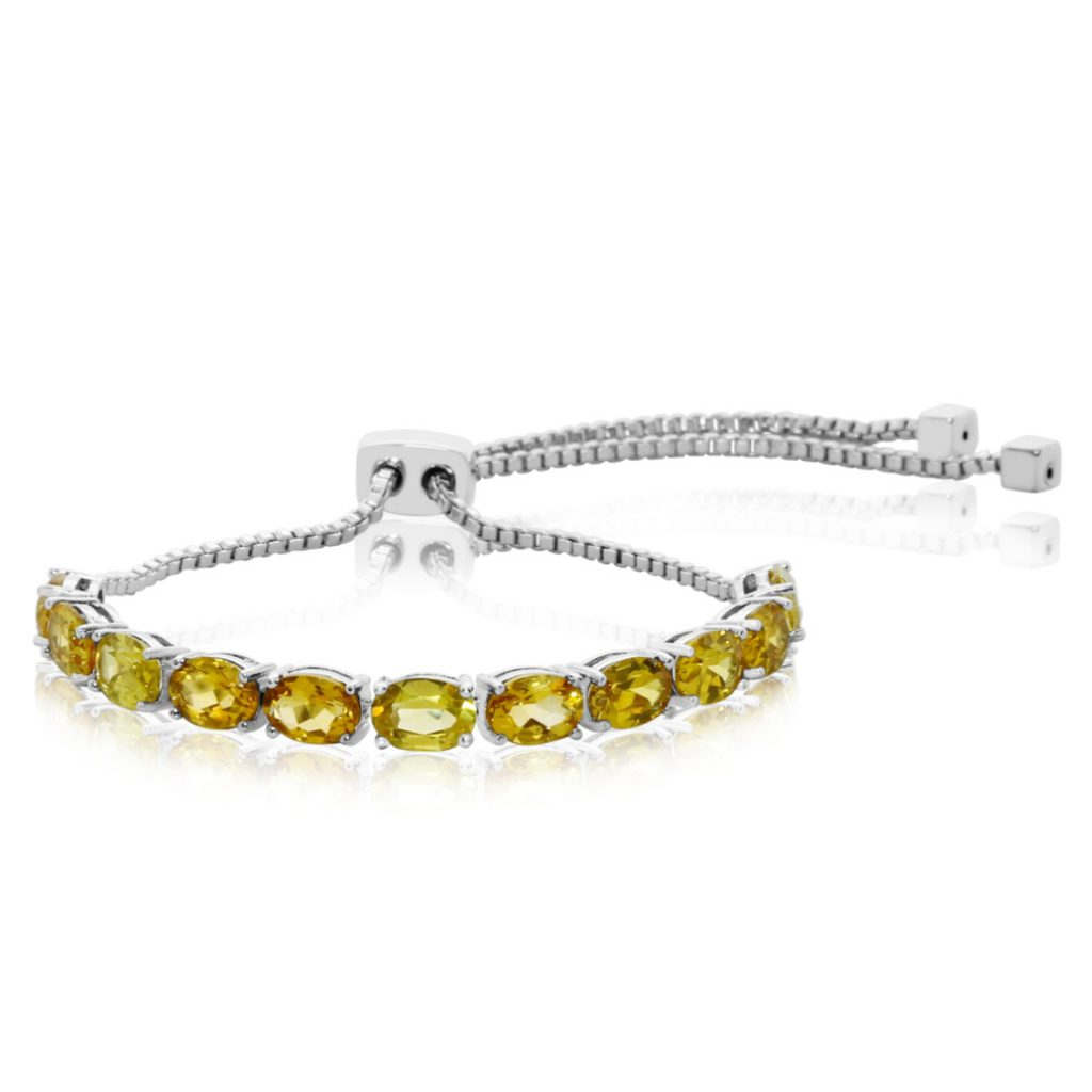 7 Carat Citrine Adjustable Bolo Slide Tennis Bracelet