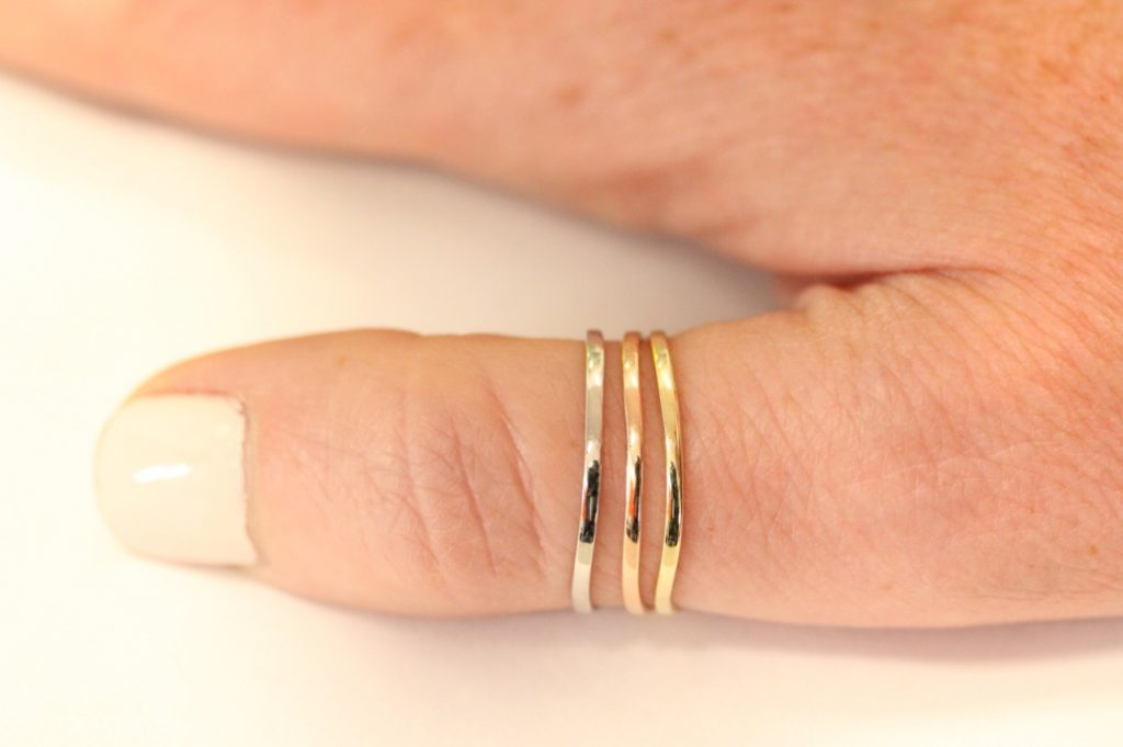 10K White Gold, Rose Gold and Yellow Gold 1.5MM Curved Thumb Ring