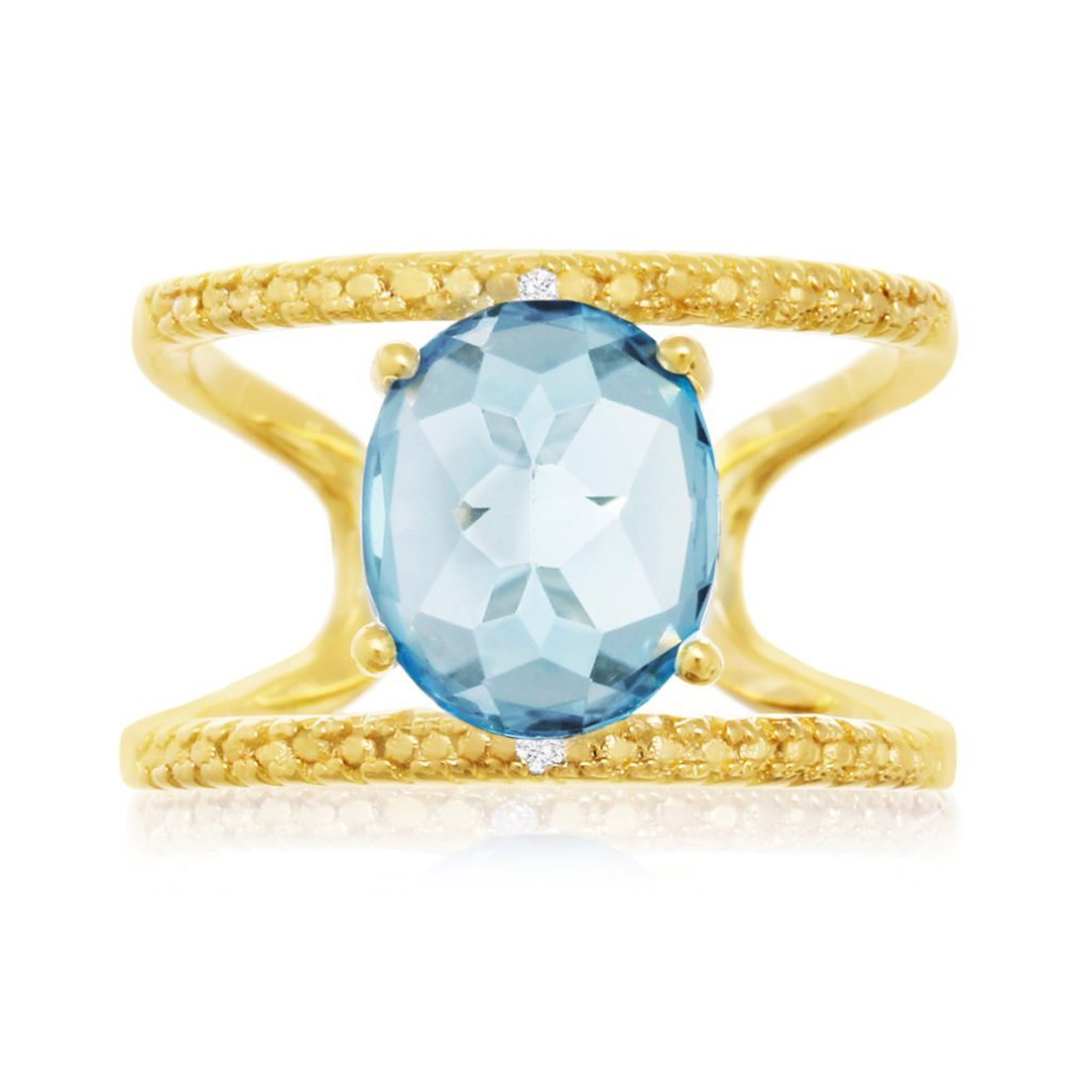 3.40 Carat Blue Topaz and Diamond Shank Ring in 14K Yellow Gold