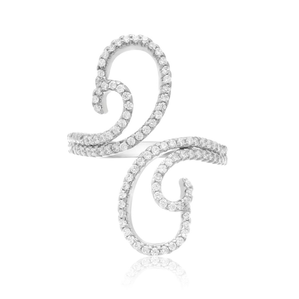 Sterling Silver Cubic Zirconia Swirl Wave Ring