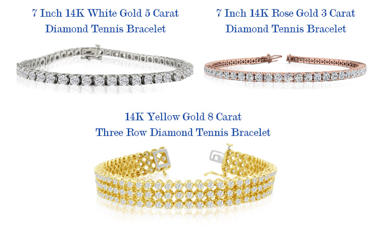 Diamond Tennis Bracelets - White Gold - Yellow Gold and Rose Gold