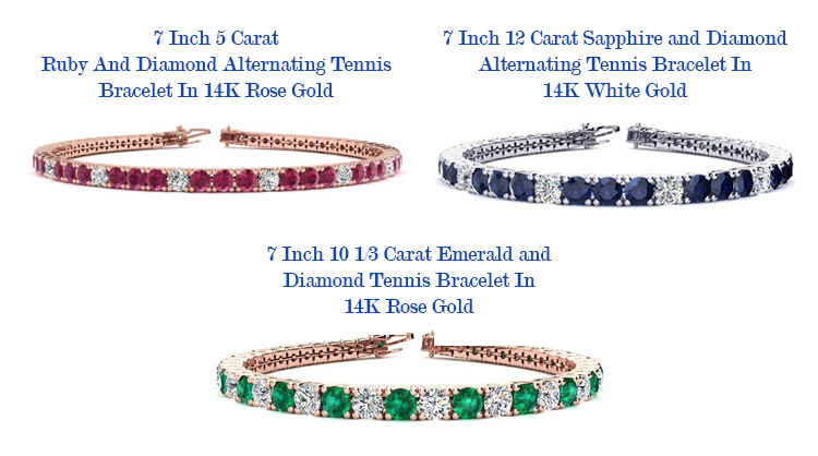 ruby and diamond, sapphire and diamond, emerald and diamond alternating tennis bracelets