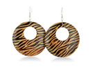 Fresh and Fun, these Zebra print wooden dangle earrings are the perfect accessory for summer. The lightweight wood won't weigh you down in the scorching summer heat.  These hoops earrings are 2 inches long.
