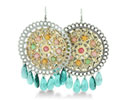 Large Circular Two-Tone Green Crystal 3 Inch Chandelier Earrings
