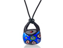 Blue Retro Murano Glass Purse Pendant on 19 Inch Black Leather Cord Necklace