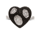 Black And White Diamond Heart Cocktail Ring, Available In Ring Sizes 5-8