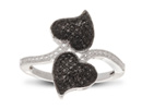 Black And White Diamond Double Heart Cocktail Ring, Available In Ring Sizes 5-7