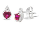 2/3ct Created Ruby and Diamond Heart Shaped Earrings