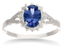 3/4ct Tanzanite and Diamond Starburst Ring in Sterling Silver