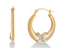"18 Karat Yellow Gold Overlay Hoop Earrings with Swarovski Elements Crystal ""X"" Accent"