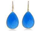 62ct Blue Chalcedony Teardrop Earrings In 18K Gold Overlay