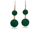 22ct Jade Round Double Gemstone Earrings, 18K Over Sterling Silver