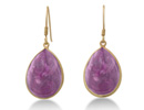 15ct Amethyst Teardrop Earrings In 18K Gold Over Sterling Silver