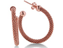 If you are searching for a pair of everyday hoops, with a hint of flair, then look no further.  These classic silver earrings with rose overlay are light and durable.  The earrings are 1 inch in diameter.