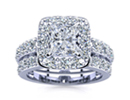 2 1/4ct Radiant and Round Diamond Bridal Set, Including 1ct Center Diamond In 14K White Gold