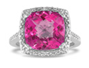 Sterling silver, 4 carat total gem weight, pink topaz and diamond ring.  Diamond content is .04 carat in J/K color and I2 clarity.  One Star diamonds.