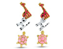 Set Of Three Cute Animal Stud Earrings - Giraffe, Cat and Turtle