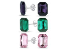 Set Of Three Amethyst, Emerald and Pink Topaz Colored Emerald Shape Stud Earrings