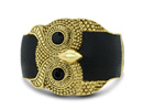 Leather And Black Crystal Owl Bangle Bracelet