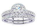 Diamond Bridal Sets: Gorgeous 1/2ct Pave Diamond Bridal Set with Round Cut Center in 14k White Gold