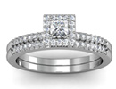 Diamond Bridal Sets: Gorgeous 1/2ct Pave Diamond Bridal Set with Princess Cut Center in 14k White Gold