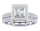 Diamond Bridal Sets: Princess Cut 1 ct Micro Pave Diamond Bridal Set in 14 White Gold