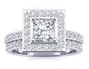 Diamond Bridal Sets: 1 1/2ct Princess Cut Pave Diamond Bridal Set in 14k White Gold