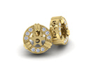 14K Yellow Gold Diamond Earring Jackets, Fits 3/4-1ct Stud Earrings