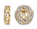 14K Yellow Gold Floral Style Diamond Earring Jackets, Fits 3/4-1ct Stud Earrings