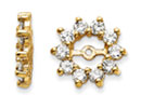 14K Yellow Gold Large Halo Sun Diamond Earring Jackets, Fits 3/4-1ct Stud Earrings