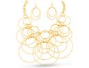 Endless Gold Circle Necklace and Earring Set
