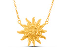 Gold Smiling Sun Necklace, 20 Inches