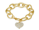 Swarovski  Elements Floating Heart Bracelet In Brushed Gold Tone