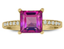 Pink Topaz Jewelry: Square Step Cut 1 7/8ct Shape Pink Topaz and 1/10ct Diamond Ring in 14k Yellow Gold
