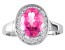 Pink Topaz Jewelry: Bold Contemporary 1 1/2ct Oval Cut Pink Topaz and .18ct Diamond Ring in 14k White Gold