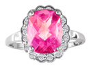 Make a Statement with this  2 3/4ct Cushion Cut Pink Topaz and Diamond Gemstone Ring. 16 diamonds totaling .15ct.  Gorgeous diamonds, fine deep color.